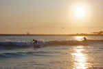 Surf lesson at sunset